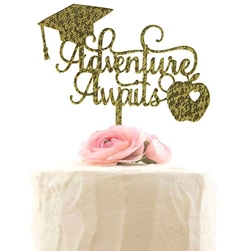 Adventure Awaits Cake Topper for 2019 Graduation Party Decorations, Congrats Grad, Class of 2019 Party Photo Props - Gold Glitter -
