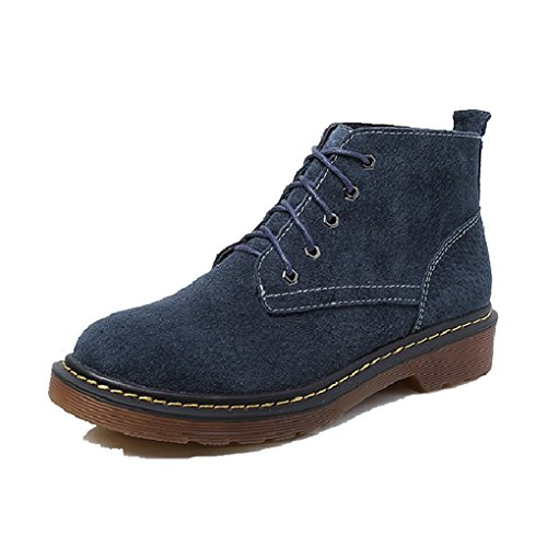 CYBLING Fashion British Women Lace Up Ankle Booties for Hiking Walking Outdoor Round Toes Shoes Blue VpLrMfR