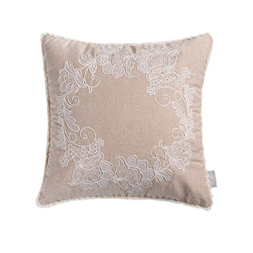 Hahadidi Decorative Throw Pillow Covers Square Embroidery Cushion Case Chambray Pillowcase for - Chair Chambray