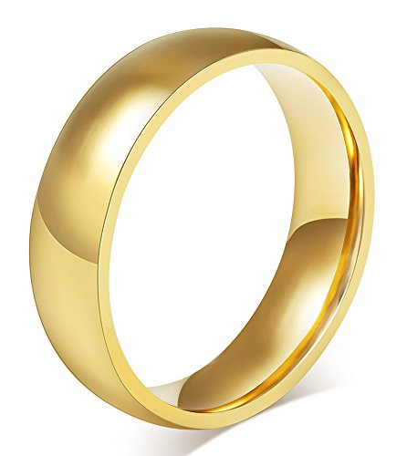 6MM Unisex High Polished Traditional Plated Plain Stainless Steel Promise Wedding Bands Ring Size US4 -14, Gold/Silver/Blue