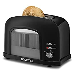 Gourmia GWT230 - 2 Slice Motorized Toaster With See Through Window - Adjustable Instant Temperature Controls, Removable Tray