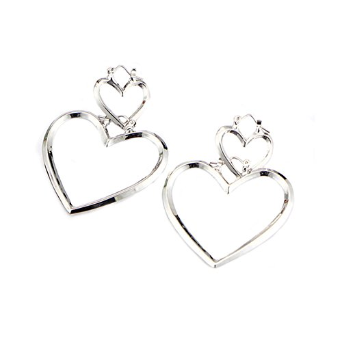 RoseSummer 1 Pair Women Hoop Sliver Double Heart Earrings Dangle Hollow Ear Studs (Double Heart Dangle Earrings)