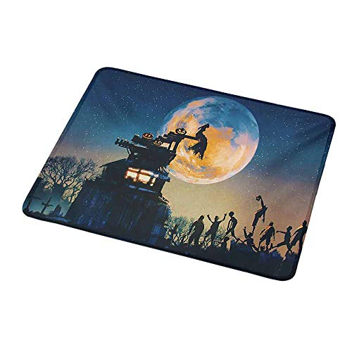 Non-Slip Rubber Mouse Pad Fantasy World,Dead Queen in Castle Zombies in Cemetery Love Affair Bridal Halloween Theme,Blue Yellow,Customized Desktop Laptop Gaming Mouse Pad 9.8