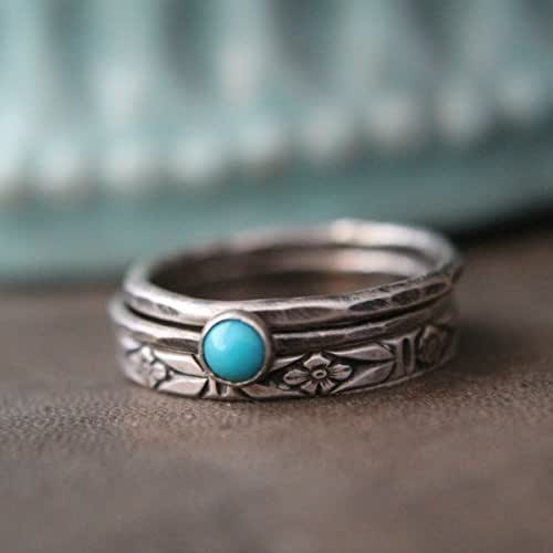 Amazon.com: Sterling Silver and Turquoise Stacking Ring ...
