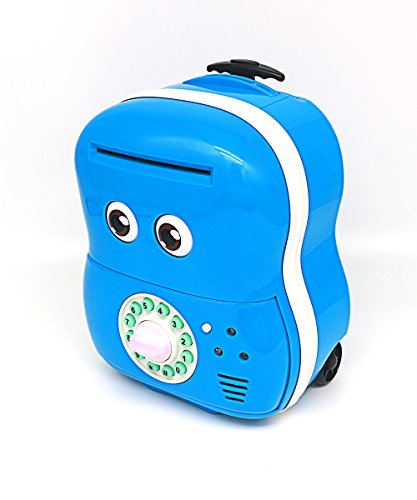 Electronic Piggy Bank, Lovingvs Cartoon Trolley Case Child Cash Bank Password Coin Can with Music Eye Blink Case Box, Blue Electronic Trolley