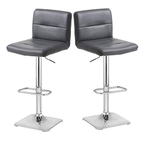 Bar Stool 24' Base - Modern Swivel Barstools with Chrome Base, Adjustable Counter Height Bar Stool, Grey PU Leather Padded with Back, Set of 2, Hold Up to 350lbs