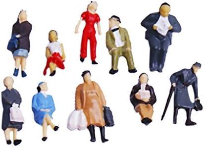 24pcs Figurines des Personnes Peintes pour Modèle de Train Echelle HO(1 à 87)