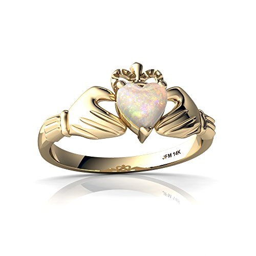 14kt Yellow Gold Opal 5mm Heart Claddagh Ring - Size 4 ()