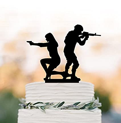 Amazon Com Bride And Groom With Gun Wedding Cake Toppers