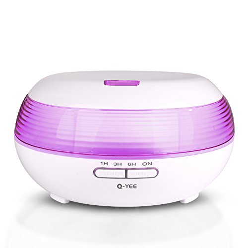 Q-YEE 300ml Ultrasonic aroma diffuser Cool Mist Air Humidifier with 7 Color LED Lights Changing and Waterless Auto Shut-off Function Timing function for Home Office Bedroom Room (White) For Sale
