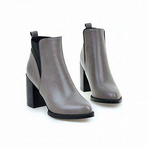 Latasa Womens Pointed Toe Block High Heel Ankle Chelsea Boots Gray IrFEl