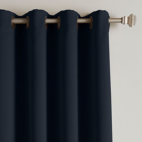 Cololeaf Outdoor Curtain for Patio Waterproof Grommet Top Thermal Insulated Blackout Outdoor Curtain Drape, Porch, Gazebo, Pergola, Cabana, Dock, Beach Home - Navy 52W x 84L Inch (1 Panel)