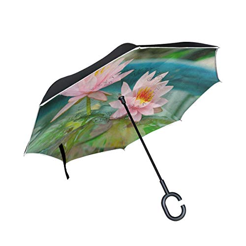 Inverted Umbrella Pink Waterlily Lotus Flower Pond Art Double Layer Reverse Umbrella for Car Windproof UV Protection Big Straight with C-Shaped Handle