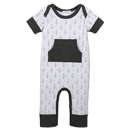 Price comparison product image Feather Baby Boys Clothes Pima Cotton Short Sleeve Kangaroo One-Piece Jumpsuit Romper