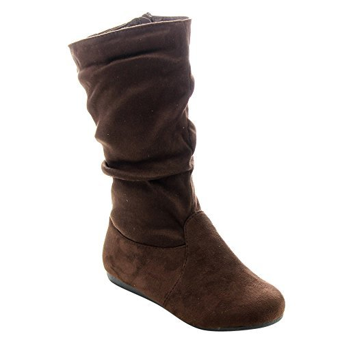 Link Selena-23K Girl's Mid-Calf Solid Color Flat Heel Slouch Boots, Brown, Little Kid 12 -