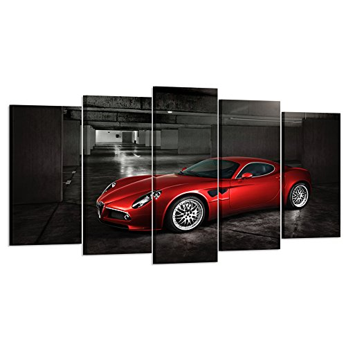 Kreative Arts - 5 Panels Red Sport Car in Black and White Posters Canvas Framed Wall Art Racing Cars Pictures Printed on Canvas Painting Artwork for Living Room Bedroom Interior Decoration - Art Car Canvas