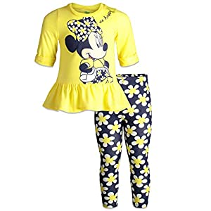 Disney Minnie Mouse Girls' Long Sleeve Peplum Top & Legging Set