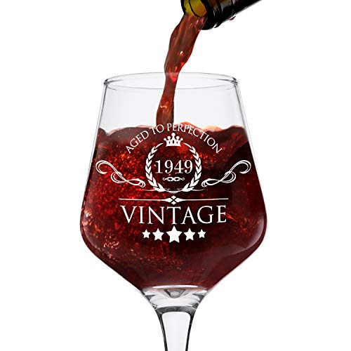 1949 70th Birthday Gifts for Women and Men Wine Glass - Vintage Funny Anniversary Gift Ideas for Mom, Dad, Husband, Wife - 70 Years Gifts, Party Favors, Decorations for Him or Her - 12.75oz -