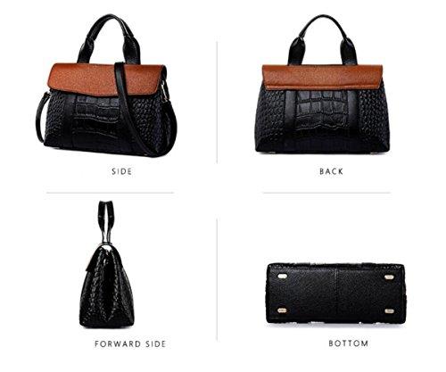 Leather Pillow Shoulder Black Handbag Crocodile Messenger Pattern Bag Wenl Ms 5n6Rqwgq1