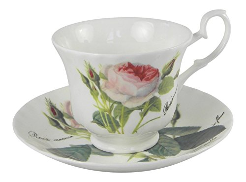 Roy Kirkham Redoute Rose Teacup and Saucer Set Fine Bone China - At The Chino Shoppes