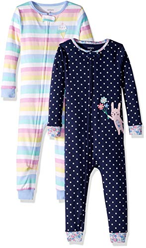 (Carter's Girls' Toddler 2-Pack Cotton Footless Pajamas, Bunny/Stripes, 2T)
