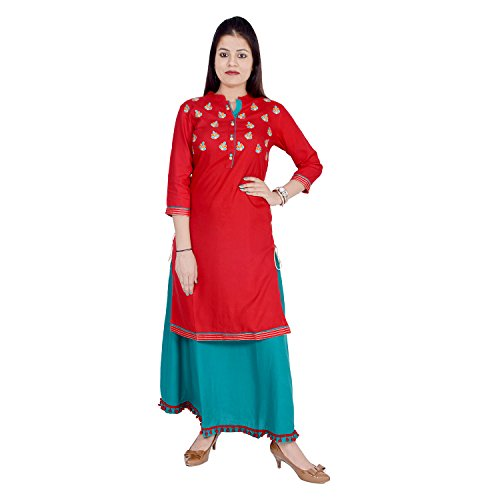 Chichi Women 3/4 Sleeve Rayon Embroidery Top Kurti Style Gown by CHI