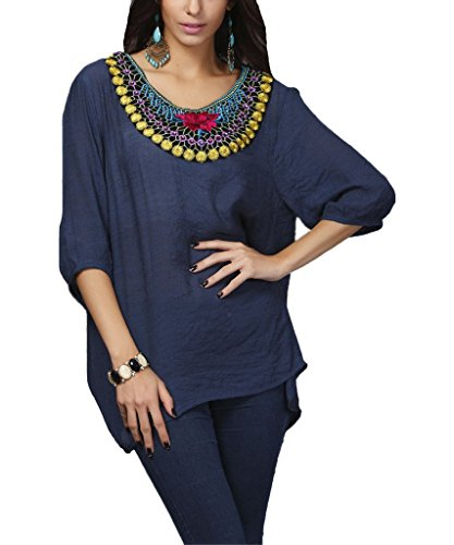 Kafeimali Women's Bohemian Embroidered Loose Shirt Tops Embellished