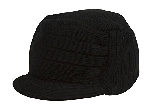 (TOP HEADWEAR Square Rib Knitted Visor Beanie, Black)