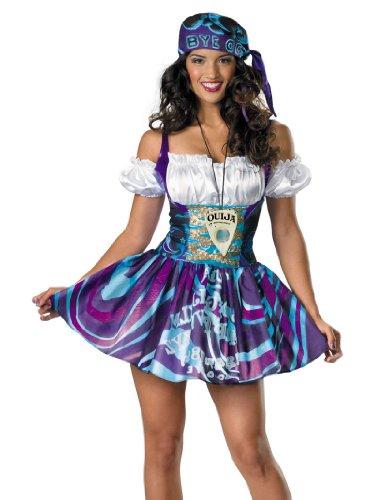 Ouija Dress Adult Womens Costumes (Gypsy Woman Ouija Board Costume Dress Purple & White Womens Theatrical Costume Sizes: Small)
