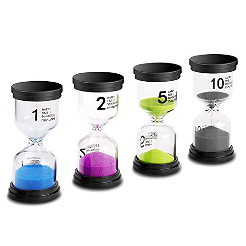 Sand Timer VAGREEZ 4 Colors Hourglass Sand Timer Clock Toothbrush Timer 1 Min 2Mins 5Mins 10Mins Timer for Kids Games Classroom Home Office Kitchen Use (Pack of 4)