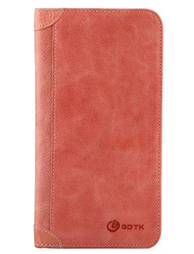 Women's Wallet - Genuine Italian Leather Long Bifold RFID Blocking Wallet (Watermelon Red) - Fold Bi Snap