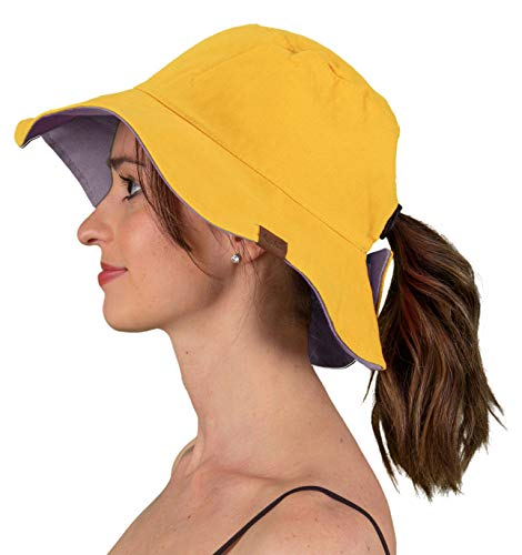 (SH-22-7279 Reversible Sun Bucket Hat - Mustard/Violet)