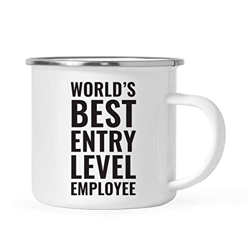 Andaz Press Office 11oz. Stainless Steel Campfire Coffee Mug Gift, World's Best Entry Level Employee, 1-Pack, Metal Enamel Camping Camp Cup, Coworker Birthday