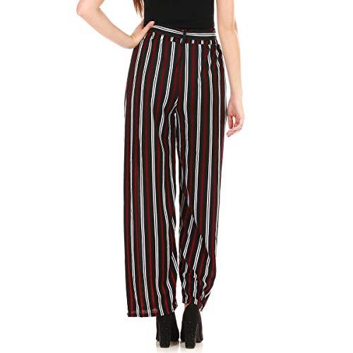 Rouge Large Pantalon Haute Rouges Blanches nbsp;stretch Modeuse Rayures nbsp;à Taille La Et Et Noires qwO4xc