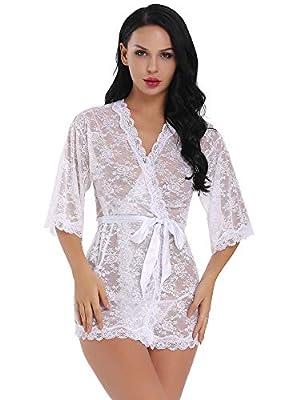 Womens Sexy Lace Kimono Lingerie Robe Mesh Babydoll Set Sheer Nightgown