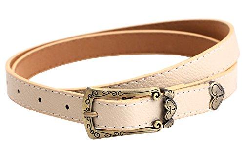 Heart Cool Belt Buckle (SportsWell Women's Lovely Heart-shaped PU Leather Buckle Skinny Belt Girls Jeans Waist Belts)