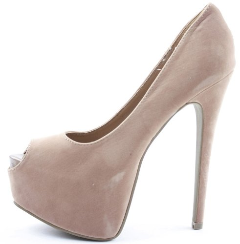 Work Stiletto Wedding Size Womens Peeptoe Platform Dark Bridesmaid Shoes Nude Court Heel High Suede Pumps Ladies p5ntz7q0