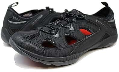 Amazon.com | Mountrek Men's Vista 10001 Black Red Slip On
