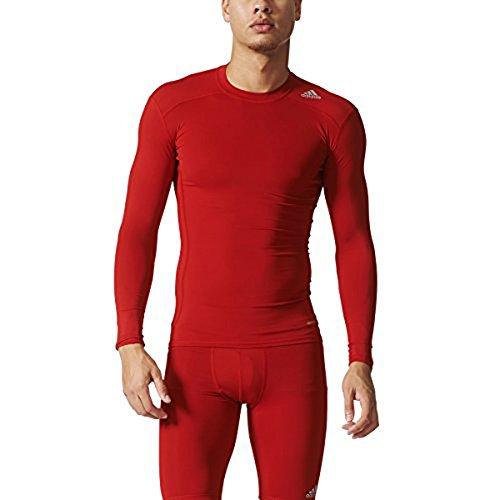 adidas Mens Techfit Base Layer Long Sleeve Tee, Red, Medium
