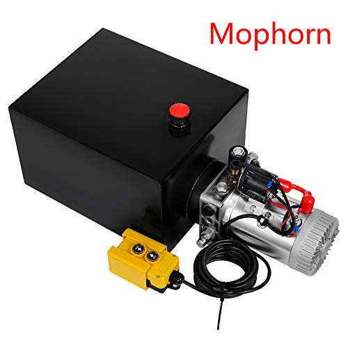 Mophorn 20Qt Single Acting Hydraulic Dump Trailer Pump (12VDC Single Action Powering Unit, SAE #6 Ports, 3200 PSI, 20 Quart SteelReservoir)