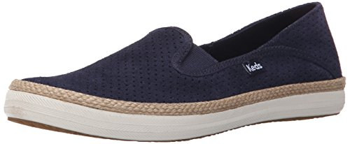 Keds Women's Crashback Perf Suede with Jute Fashion Sneaker, Navy, 7.5 M US