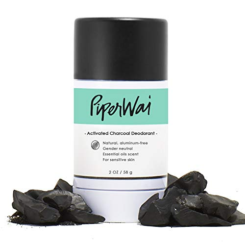 PiperWai Natural, Organic, Vegan, Non-Toxic, Cruelty-Free Aluminum-Free Charcoal Deodorant Stick (2.7 oz), Odor-Absorbing and Wetness Fighting, Coconut Oil, Gender-Neutral (As Seen on Shark Tank) (Best Odor Fighting Deodorant)