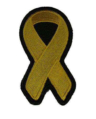 GOLD RIBBON FOR CHILDHOOD CANCERS AWARENESS PATCH - Gold - Veteran Owned Business.
