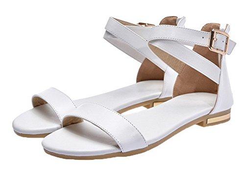 Sandales Bas Femme Talon Couleur Blanc Zip Cuir d'orteil Ouverture à PU Unie AalarDom PB4Txwqw