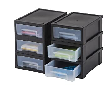 Iris pièces bureau stacking tiroir petit noir effacer
