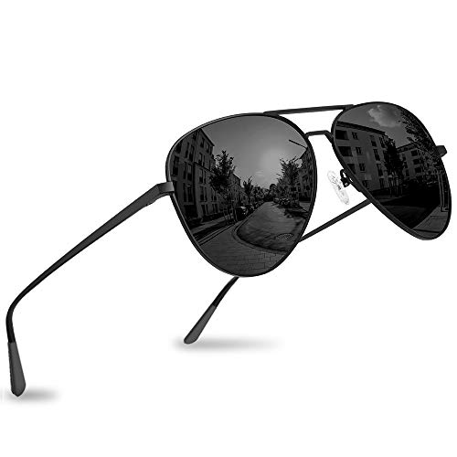 Polarized Aviator Sunglasses - Force Durable Mirrored Lens For Mens Womens UV400 (Charcoal × Carbon Black)