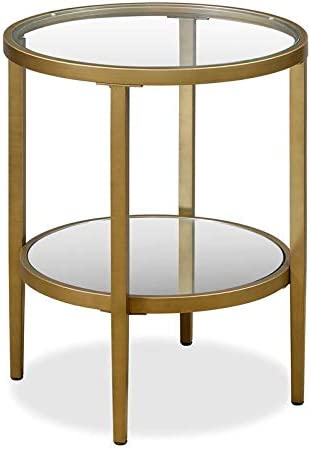 Henn Hart Double Tier Glass and Gold Side Table