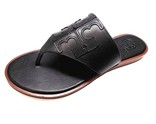 Tory Burch Jamie Leather Full Logo Thong Women's Sandals (Jamie Black Leather)