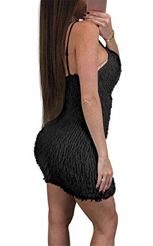 Fur Black Bodycon Dress Club Crewneck Faux Womens Domple Strap Fashion Spaghetti Mini AgW6wEYqvP