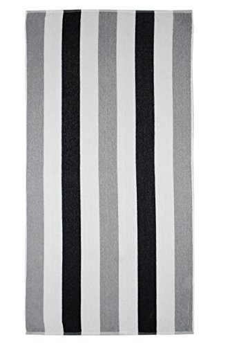 Cotton Craft - Terry Beach Towel 30x60-2 Pack - Cabana Stripe Grey Black - 400 GSM - 100% Pure Ringspun Cotton - Highly absorbent easy care machine wash - Use (Pure Cotton Stripe Towel)